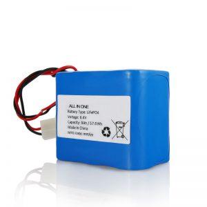 6.4V 12Ah LiFePO4 Lithium 26650 32650 -akku ja liitin aurinkovalolle